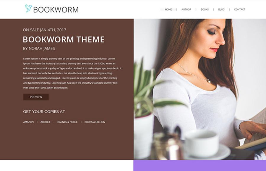 NF Book Worm - FullScreen Book Authors WordPress Theme