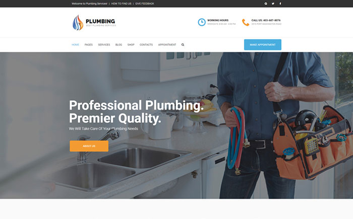 Plumbing - home maintenance agency WordPress Theme