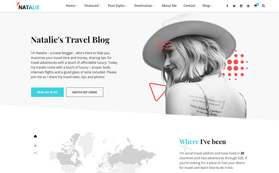 Natalie - Travel Blog WordPress Theme