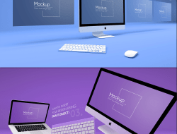 7 Colorful Apple Devices Mockups