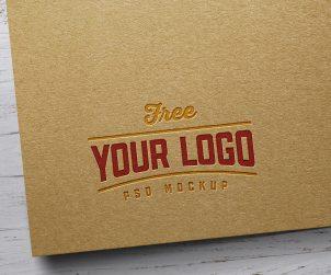 Kraft Paper Letterpress Logo Mockup