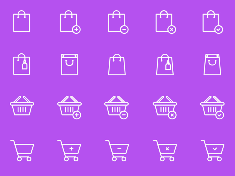 Shopping Bag & Cart Icons