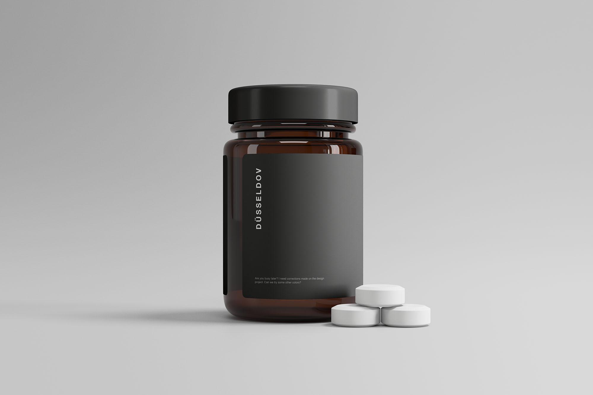 Medicine Bottle with Pills Mockup