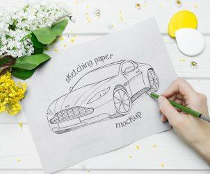 Free Sketching Paper Mockup