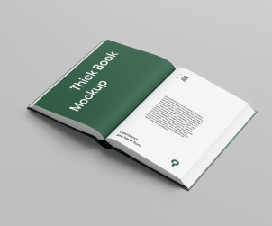 Free Hard Cover Open Book Mockup