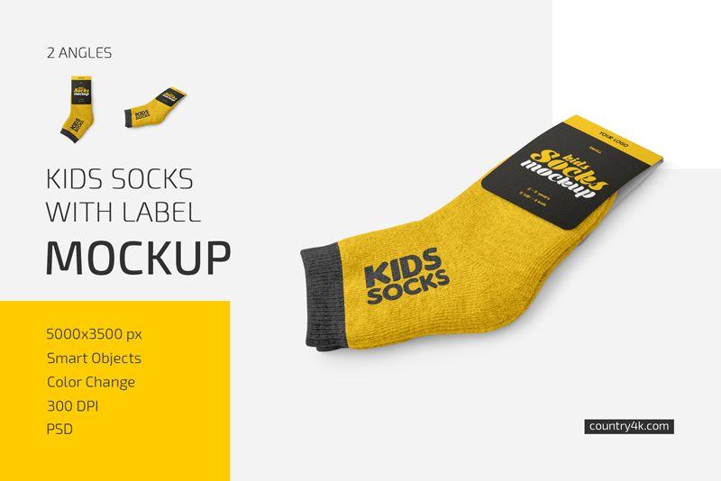 Kids Socks with Label Mockup