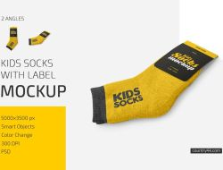 Kids Socks with Label Mockup