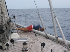 Skipper checking the damage after the collision with the wreck.