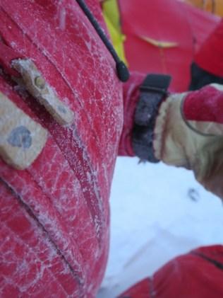 Icy crust on my jacket.