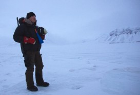 Me on lookout for polar bears. Watch out!