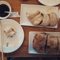 Dumplings and beef scallion pancake in Flushing, Queens. Here, the only reminders that you are still in America are the green and white road signs. Bubble tea was also acquired after this photo was taken.