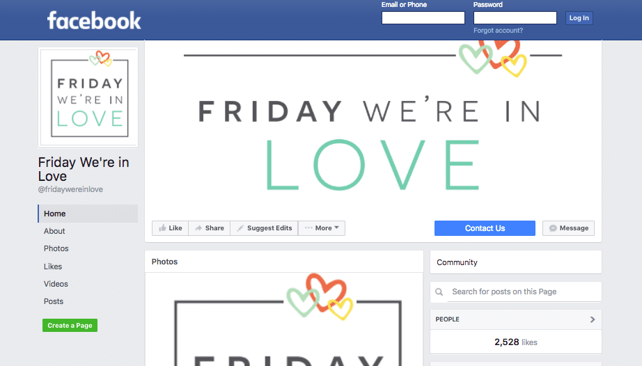 Friday We're in Love Facebook