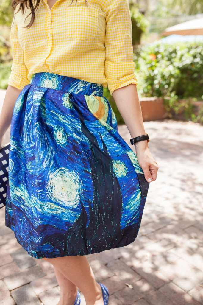 Starry Night Skirt Date Night Outfit- artsy outfit idea perfect date night fashion idea to wear to your next art gallery date