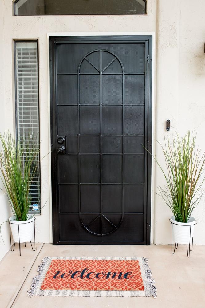 Front door makeover: Easy Black Door Update