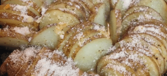 Iron Skillet Hasselback Parmesan Potatoes Recipe