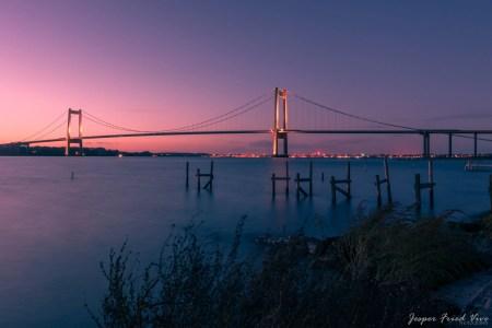 Lillebæltsbroen i solnedgangen