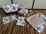 Baby-Set bestehend aus Kinderwagentasche, Krabbel-/Wickeldecke, Windeltasche, Mutterpasstasche, Sonnensegel