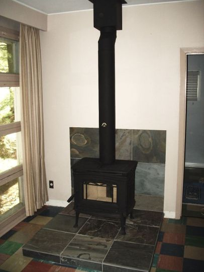Pacific Energy Cast Iron Alderlea Wood Stove installed by Friendly Fires.ca in Kawartha Lakes, Ontario.