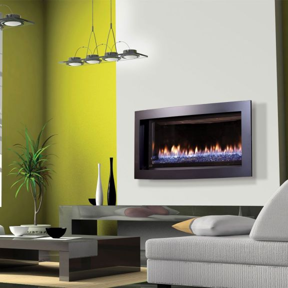 Kozy Heat Slayton fireplace is Kozy's linear contemporary gas fireplace of choice.