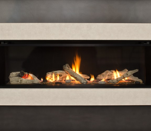 Valor L2 Linear Gas Fireplace Fluted Sandstone Surround