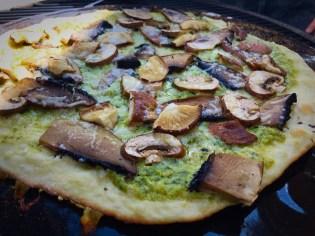 Atomica BBQ Pizza Mushrooms Done