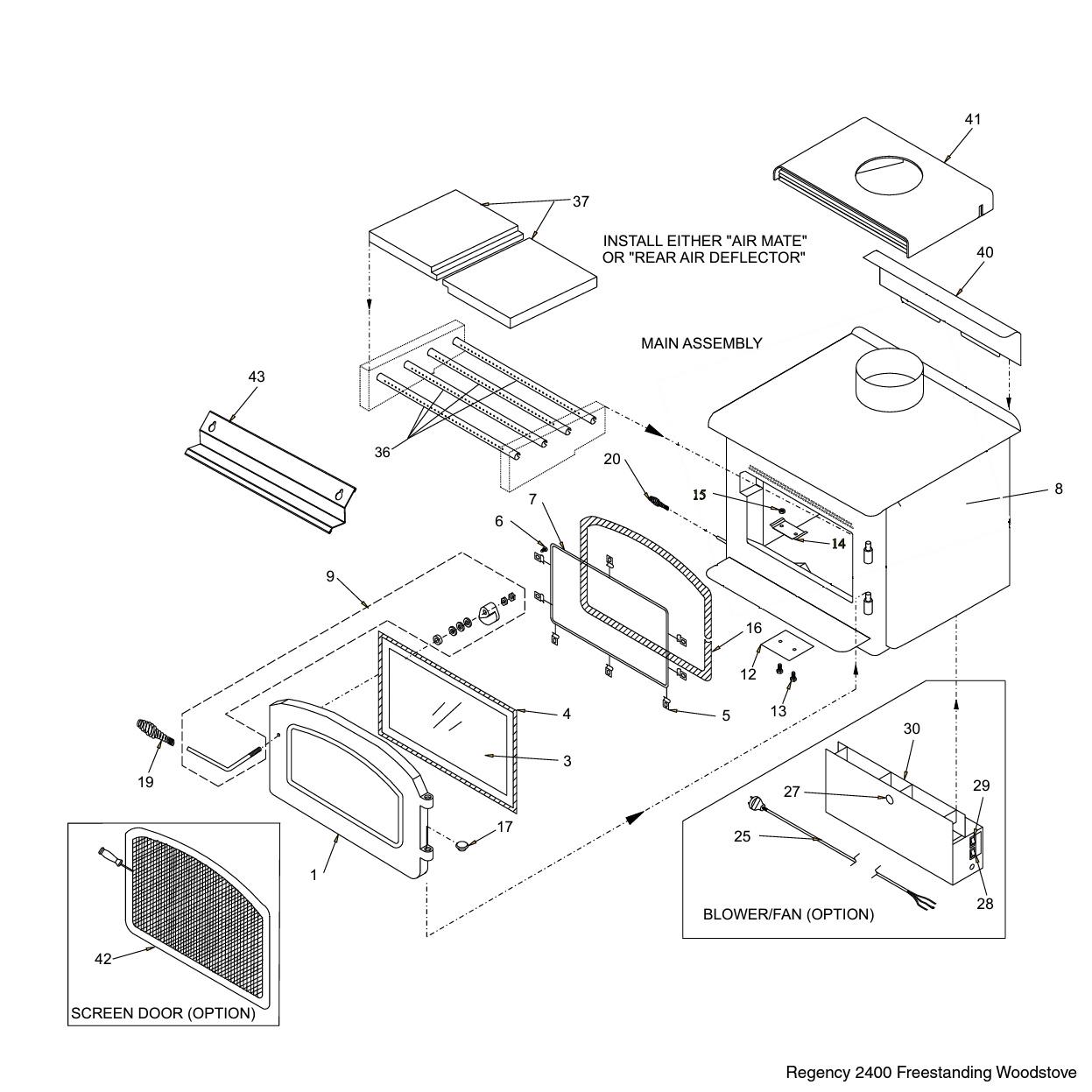 Regency F Wood Stove Main Assembly Parts