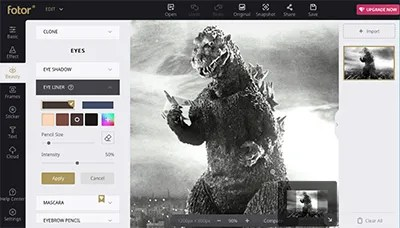 A photo of Godzilla in an online photo editor