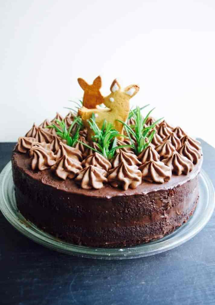 Woodland themed chocolate birthday cake (dairy and gluten free version) recipe
