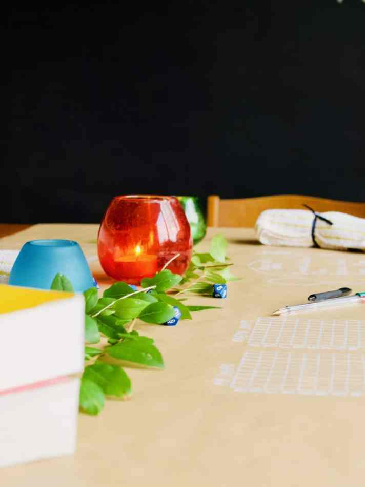 Idea for date night in: paper and pen games table layout