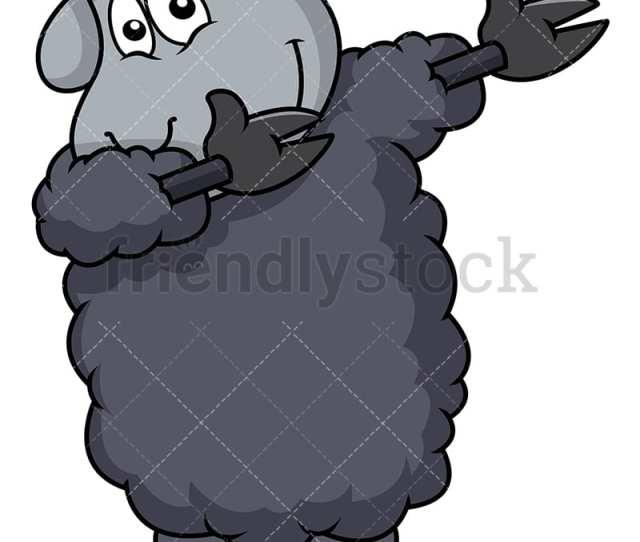 Black Sheep Doing The Dab Vector Cartoon Clipart