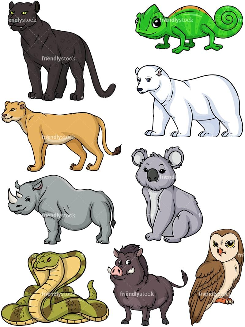 Wild Animals 4 Cartoon Vector Clipart Friendlystock