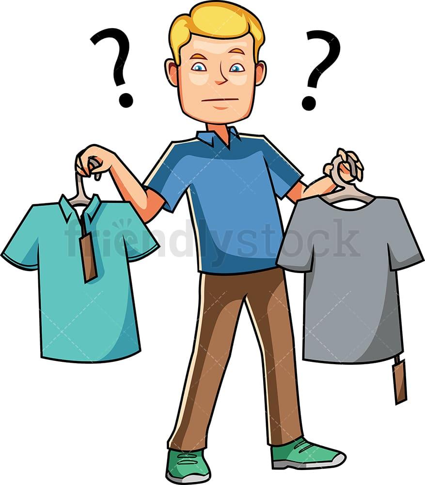 Man Choosing Between Two T Shirts Cartoon Vector Clipart Friendlystock