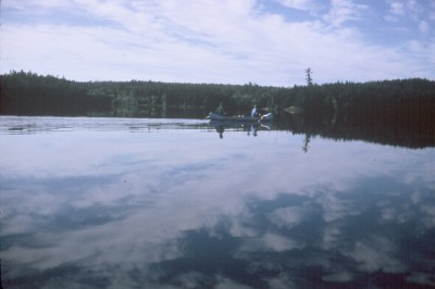Quetico, Kevin and Dave paddling in calm water
