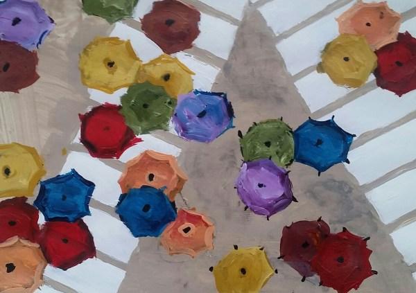 TS Colorful Congregation 9×12 acrylic $35 3-17