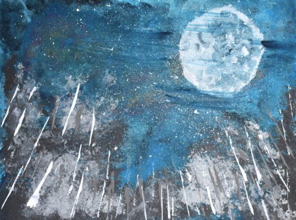 SD Drawn to the Moon 9×12 acrylic $45 6-19