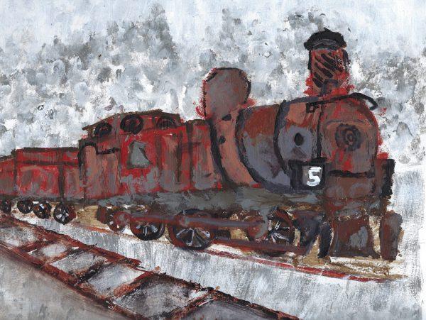 AM Rustic Train #5 9×12 acrylic $45 8-18