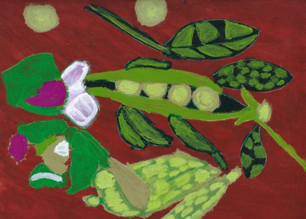 AT Pea Pods Bloom 9×12 Acrylic $40 3-19