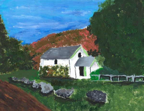 BM Hillside Cottage Escape 9×12 acrylic 3-16 $40