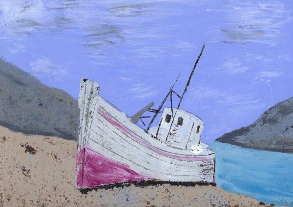 BW Boat Come Ashore 9×12 acrylic $45 8-18
