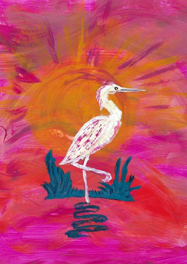BW Early Bird 9×12 acrylic $45 5-19