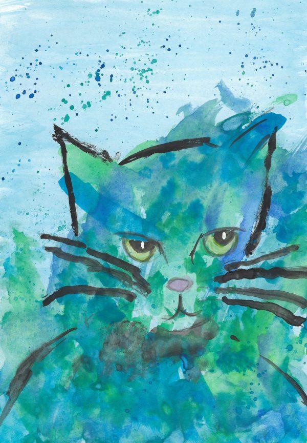 BW Feline Personality 7×10 Watercolor $40 2.2016