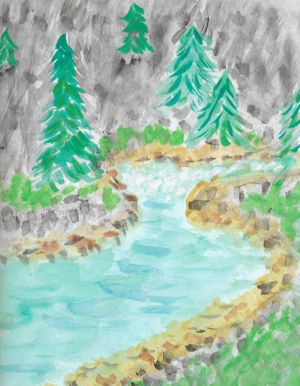 BW Pine Creek 9×12 Watercolor $45 3.2017