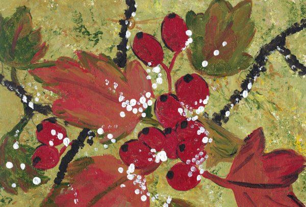 BW Winter Berries 9×12 acrylic $40 11-18