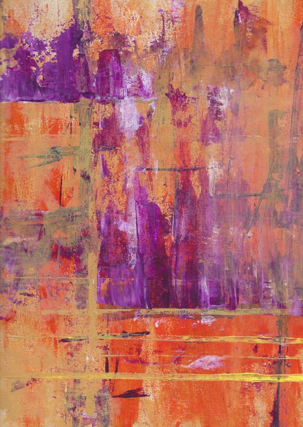BrS Abstract in Orange and Plum 9×12 acrylic $45 7-16