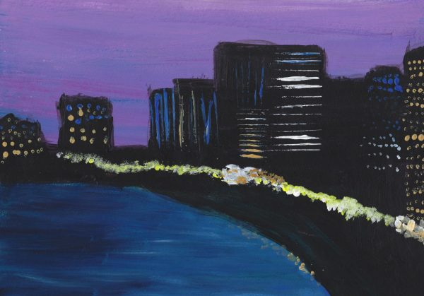 DS City Lights 9×12 acrylic $45 9-16