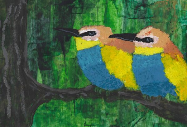 DS Feathered Friends 9×12 acrylic $45 3-19