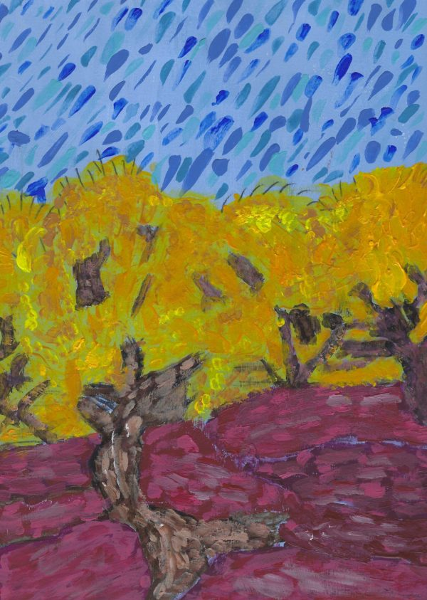 DS Meadows of Golden Trees 9×12 acrylic $50 3-19