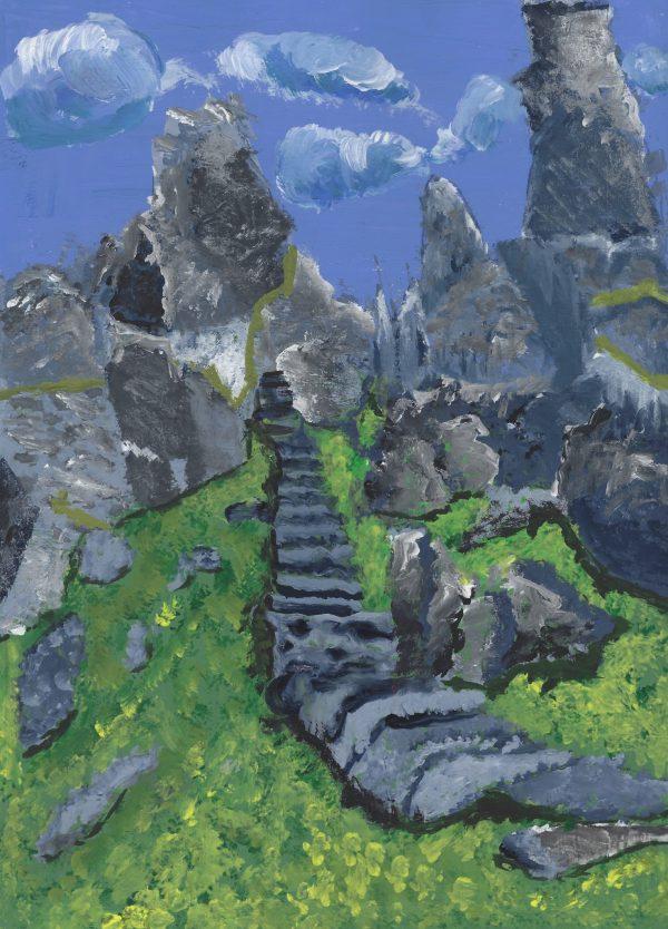 DS Skellig Michael Steps, Ireland 9×12 acrylic $50 1-16
