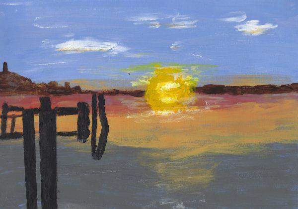 DS Sunset Shadows 9×12 acrylic $40 2-18
