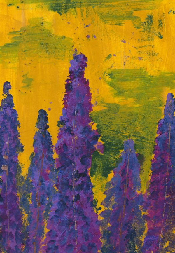 DS Towering Lupines 9×12 acrylic $40 7-16